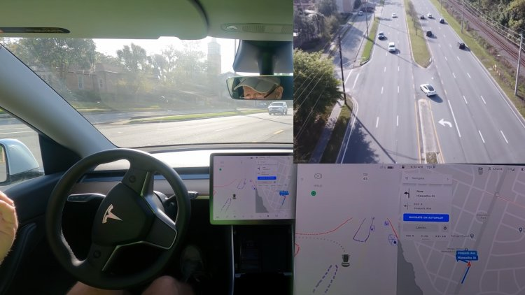 Korumasız Sola Dönüş Yapan Tesla'nın Drone Görüntüleri Cidden Korkunç